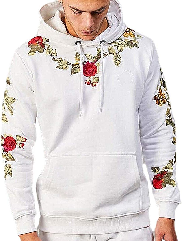 Mens Our Team Long Sleeve Screen Print Hooded Fleece Pullover Flower