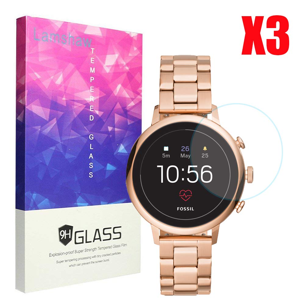 for Fossil Q Venture HR Screen Protector, Lamshaw 9H Tempered Glass Screen Protector for GEN 4 SMARTWATCH - Q Venture HR (3-Pack)