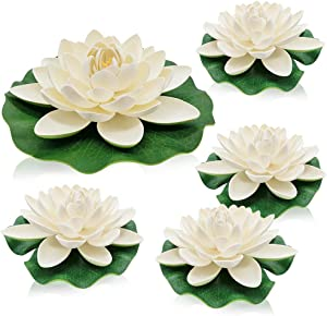 ohihuw Artificial Floating Water Lily Foam Lotus Flower for Pond Patio Garden Pool Décor Large Size 5 Pack