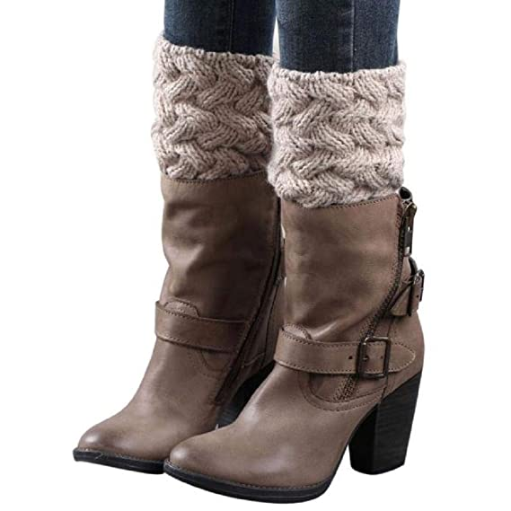 VJGOAL Mujer Invierno moda casual color sólido Aguja gruesa bambú tejido calcetines cubierta de la bota