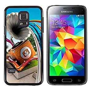 Paccase / SLIM PC / Aliminium Casa Carcasa Funda Case Cover - Gramophone Abstract Lines - Samsung Galaxy S5 Mini, SM-G800, NOT S5 REGULAR!