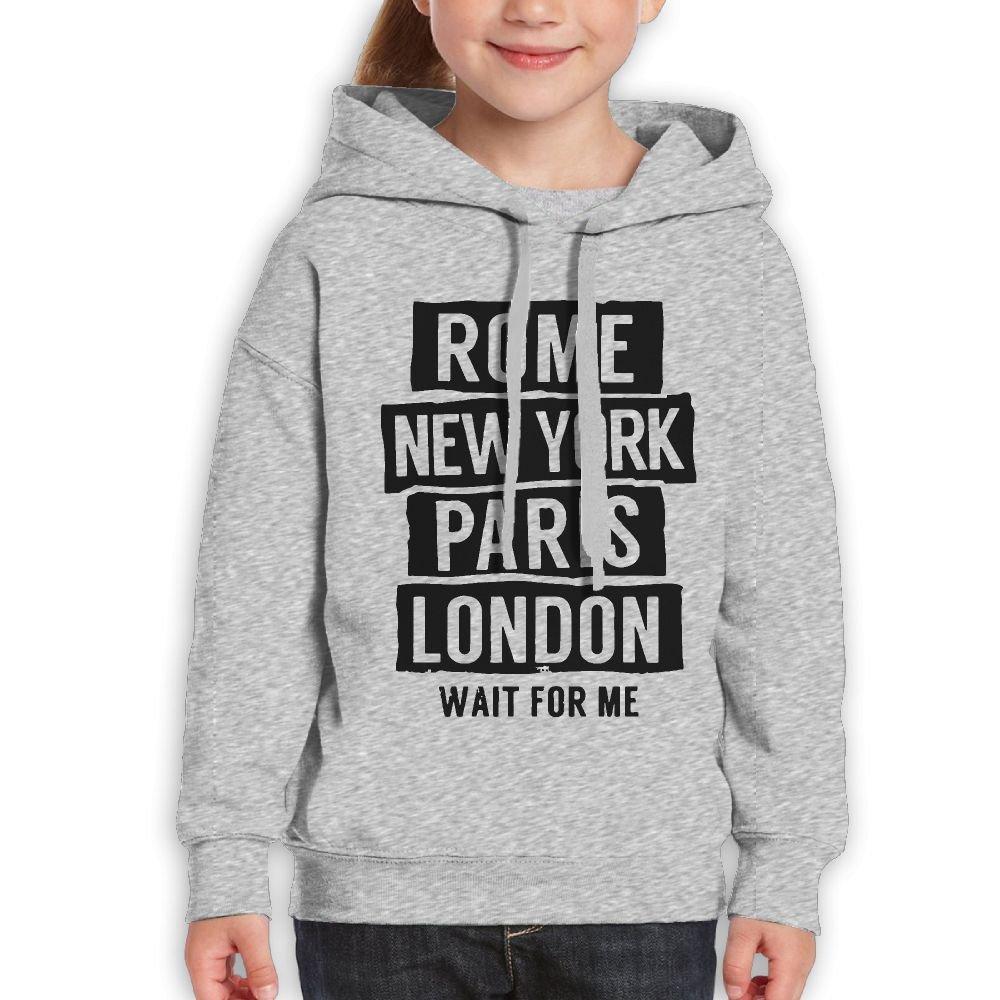 Cotton Rome New York Paris London Wait For Me Boy/&Girls Hooded Hoody Coat