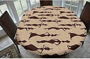 SoSung Afro Decor Polyester Fitted Tablecloth,Modern Pattern with Primitive Effects and Ethno Stripes Backdrop Illustration Oblong Elastic Edge Fitted Table Cover,Fits Oval Tables 68x48 Brown Tan