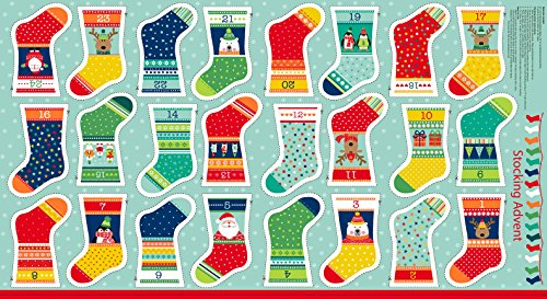 CHRISTMAS FABRIC PANEL - Advent Calendar Bunting Stockings - Novelty Christmas Craft Kit - MAK530 - Each panel is 24
