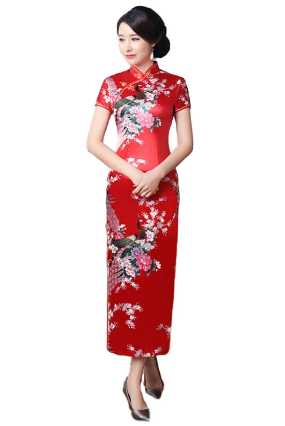 Hide Away Women's Longi Chinese Dress Cheongsam [White/Purple/Black/Red] Mandarin Gown Qipao China Dress (Small, Red)