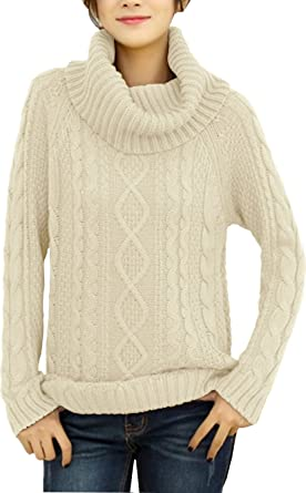ab91c5cc16 v28 Women s Korean Design Turtle Cowl Neck Ribbed Cable Knit Long Sweater  Jumper (XS
