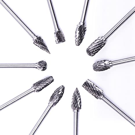 3 mm 1//8 Inch KEWAYO 10 Pieces Tungsten Carbide Burrs Set Shank and 6 mm