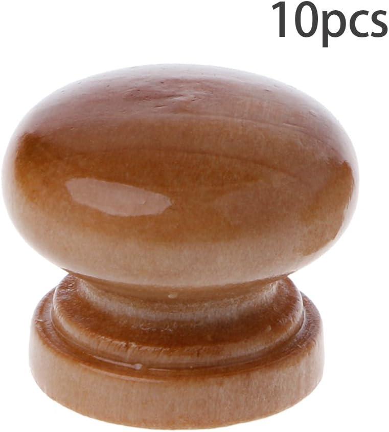 Set di 10 pomelli in legno naturale per armadio Cuigu con viti
