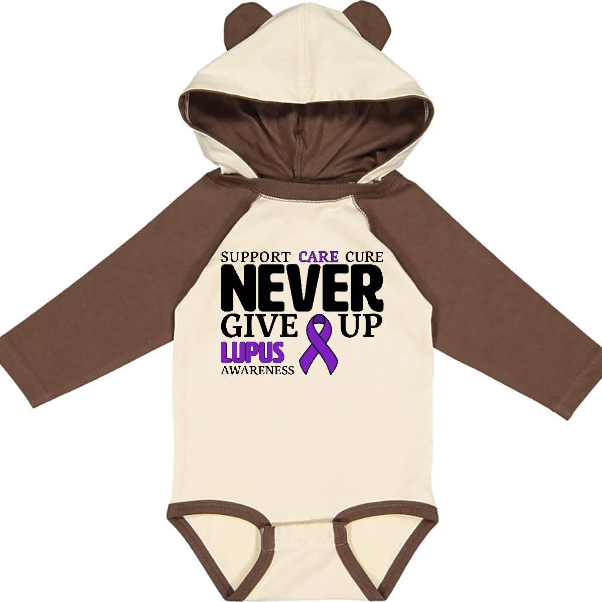 Care inktastic Support Cure Never Give Up Lupus Awareness Long Sleeve Creeper