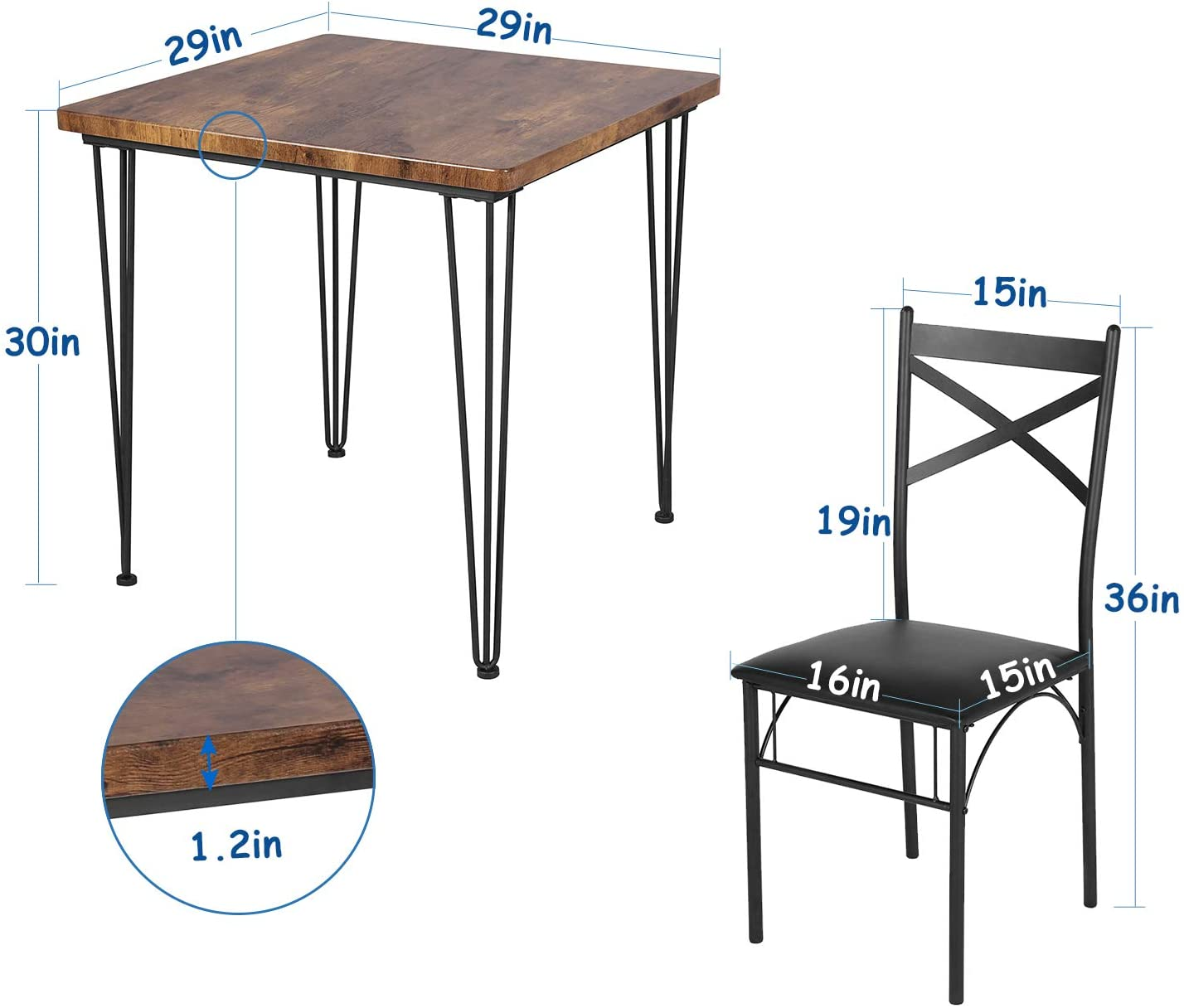 VECELO Dining Set Industrial Style 3 Pieces Kitchen Wood Table 2 Chairs with Metal Legs,Retro Brown and Black - Table & Chair Sets