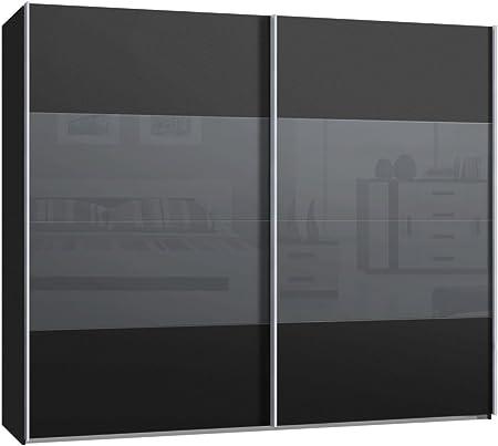 Armario de puertas correderas, armario, aproximadamente 270 cm, antracita, frente Gris oscuro cristal gris, Compra de fábrica, puerta corredera: Amazon.es: Hogar
