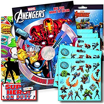 Marvel Avengers Coloring Book Bundle With Stickers Plus Superhero Door Hanger Captain America Black Panther Thor The Hulk Iron Man And More