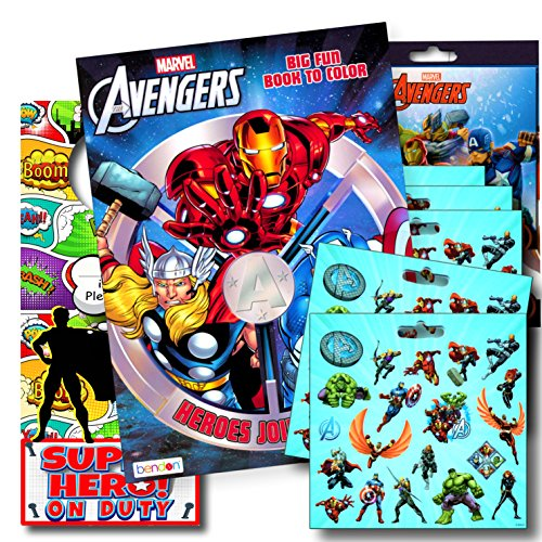 - Marvel Avengers Coloring Book Bundle with Avengers Stickers Plus Superhero Door Hanger ~ Captain America, Black Panther, Thor, The Hulk, Iron Man, and More!