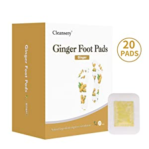 Ginger Foot Pads (20 Pads), Herbal Ginger Patch for Body Cleansing, Foot Patches for Swelling Feet, Better Sleep and Pain Relief, 100% Natural Ingredients, Ginger Powder and Bamboo Vinegar, 20 Pack