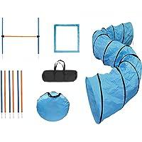 MiMu Dog Agility Training Equipment Kit with 16-Foot Full Length Dog Agility Tunnel, 8 Weave Poles, 1 Dog Agility Jump