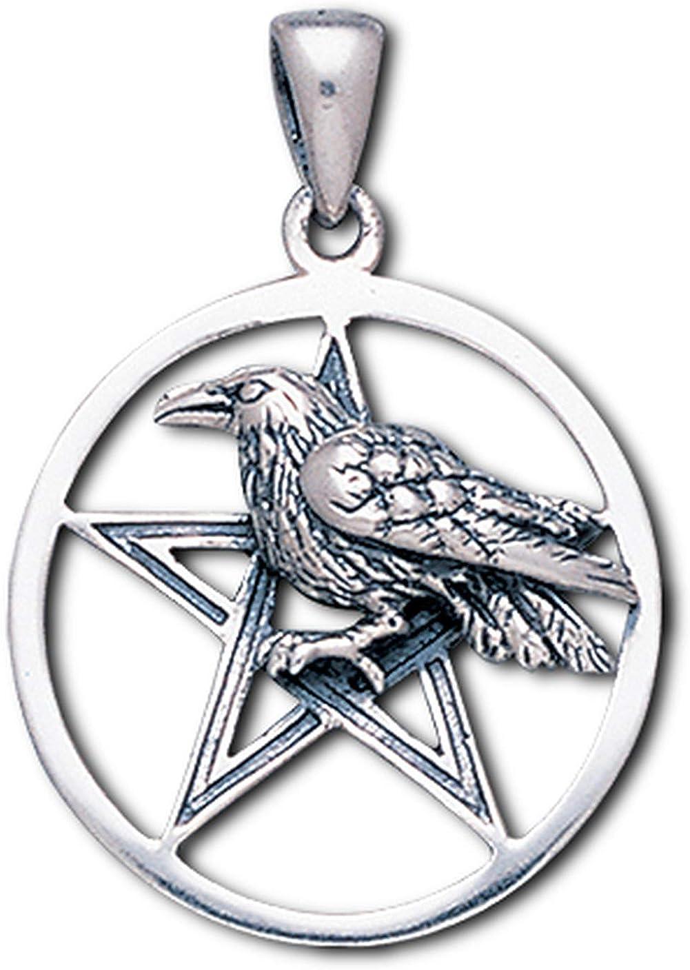 Alterras Anh/änger Rabe auf Pentagramm aus 925-Silber