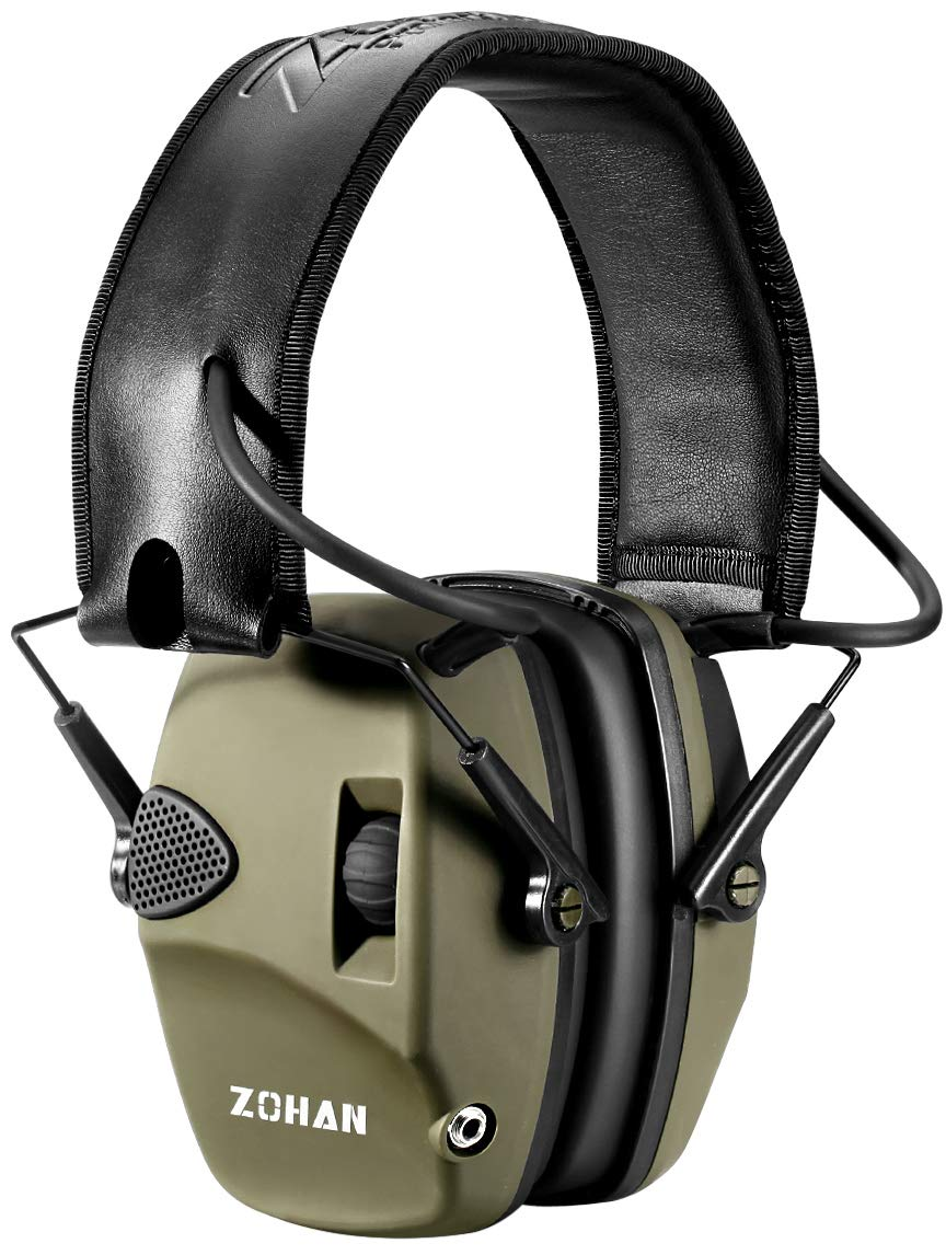 Electronic Shooting Ear Protection Muff | ZOHAN Sound Amplification Noise Reduction Hunting Earmuff - NRR 22dB -OD Green by ZOHAN