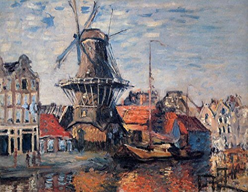 Amsterdam Oil - 100% Hand Painted The Windmill on the Onbekende Canal Amsterdam Canvas Oil Painting for Home Wall Art by Well Known Artist, Framed, Ready to Hang