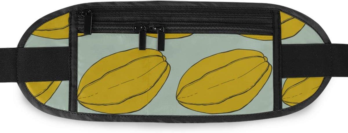 Carambola Fruit Starfruit Pattern Handdrawn Running Lumbar Pack For Travel Outdoor Sports Walk Travel Waist Pack,travel Pocket With Adjustable Belt