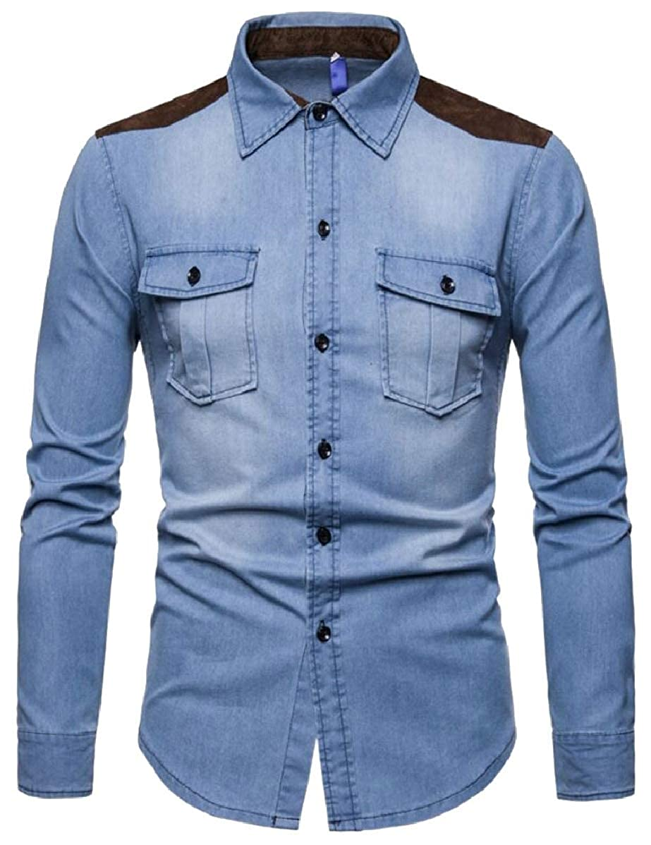 CBTLVSN Mens Denim Slim Casual Color Stitching Long Sleeve Button Front Shirts