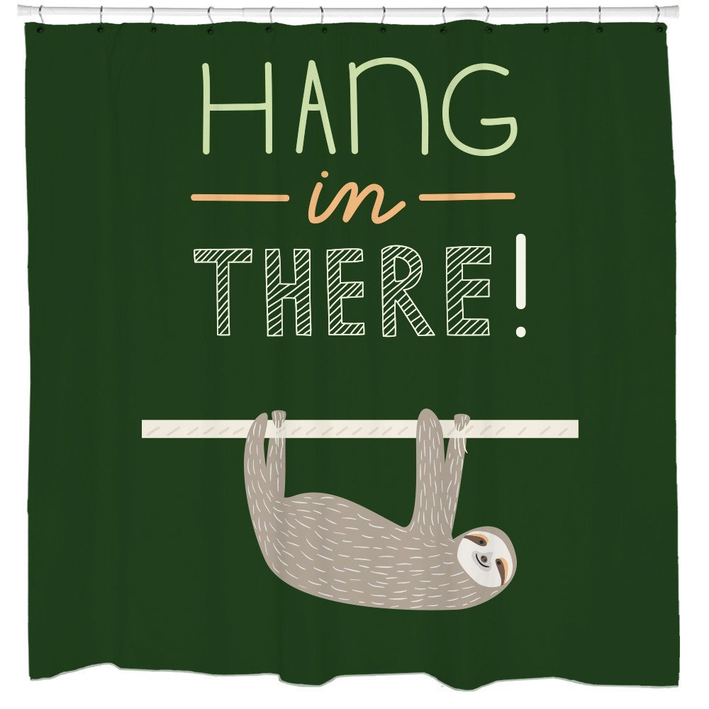 Amazon Motivational Quotes Sloth Shower Curtain Hang In There Funny Bathroom Art Slothzilla Home Kitchen