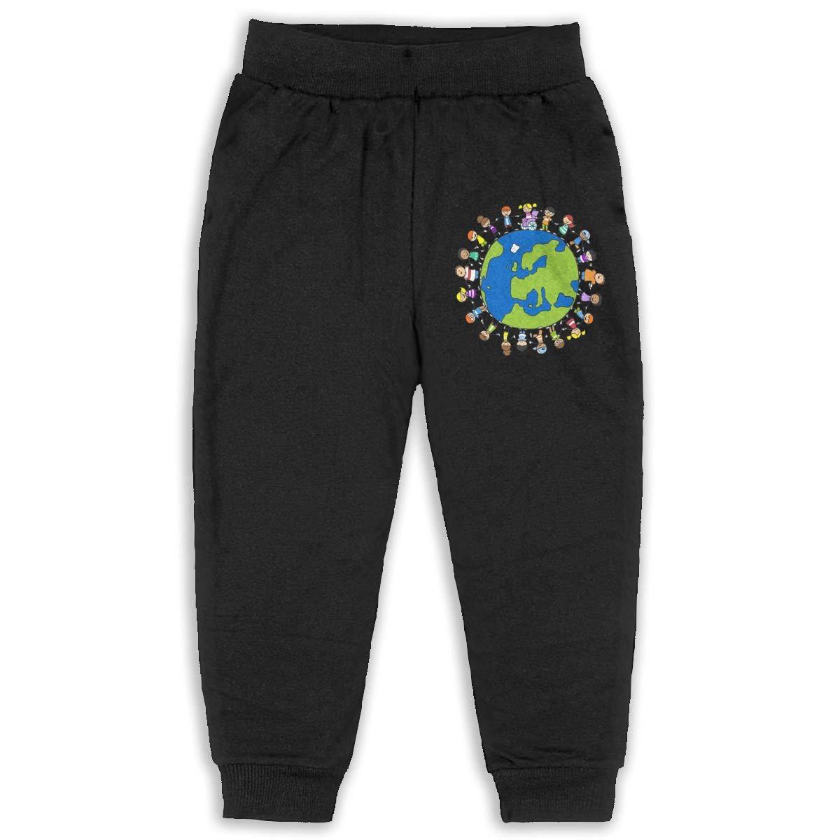 World Map Family Earth Kids Cotton Sweatpants,Jogger Long Jersey Sweatpants