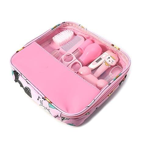 exing 13 piezas/juego de recién nacido bebé niños uñas cuidado del cabello cuidado Termómetro Pincel Kit rosa Rosa