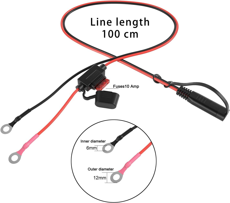 /24/V con fusibile 10/A 2/pin 18/AWG filo di rame o tipo 2-pin rapido a spina cavo di prolunga SAE 12/V/