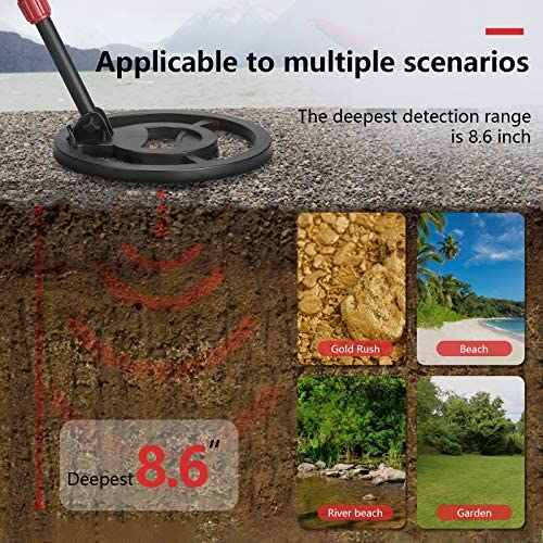 "Metal Detector Adjustable(43.3""-60.2"") Metal Detectors for Adults and Kids [Disc & Notch & Pinpoint Modes] Larger Back-lit LCD Display 10 "" IP68 Waterproof Search Coil with Headphone and Shovel"