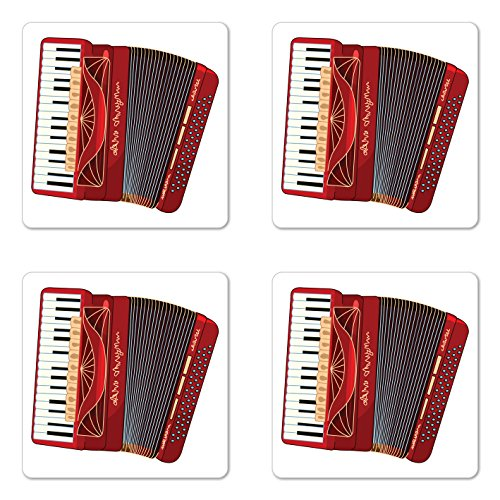 Lunarable Accordion Coaster Set of 4, Squeezebox Eastern European Keyboard Pop Dance Melody and Harmony Theme, Square Hardboard Gloss Coasters for Drinks, Multicolor ()