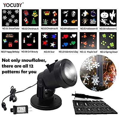 LED Landscape Projection Lights,Yocuby 12 Multicolor Patterns Indoor/Outdoor Waterproof Snowflakes Spotlight Lamp for Christmas, Halloween, Birthday, Celebration, Holiday, Wddding Party Decoration