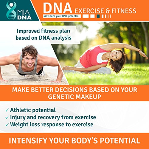 Exercise & Fitness DNA Test kit - MiaDNA Genetic Home DNA Test Kit for maximizing your athletic potential I Reveal Your body's Potential I state of the art and affordable personal genetic testing