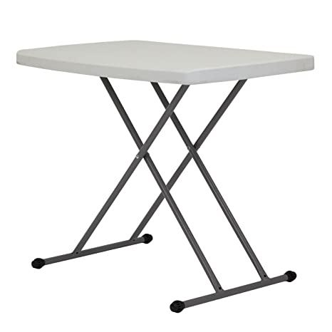 Kinbor New Folding Table Height Adjustable Portable Indoor Outdoor Picnic  Party Dining Camping White