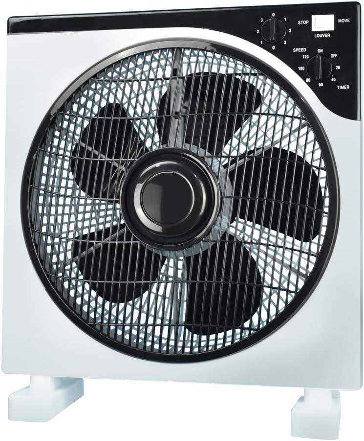 AirArtDeco Ventilador Box l Box fan | Rejilla oscilante|12 Pulgadas | 3 Velocidades | Función de temporizador | Poderoso, Silencioso | Ideal para casa u oficina | Gris/Blanco