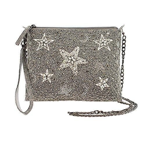 MARY FRANCES Shooting Stars, Pewter Embellished Zip-Top Cross-Body Wristlet Handbag