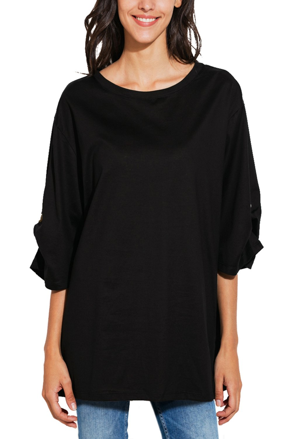 Women's Summer Basic 3/4 Sleeve Round Neck Casual Loose Fit Plus Size T-Shirt Cotton Blouse Tops (S-XL)