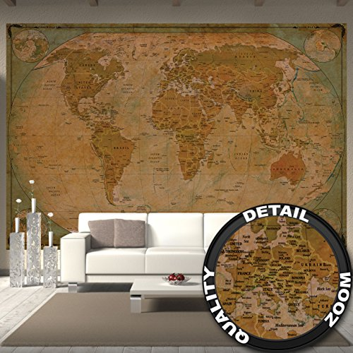 GREAT ART Wallpaper Old Style Map of The World - Wall Decoration Retro World Map Sephia Map Poster Vintage Atlas (132.3 Inch x 93.7 Inch/336 x 238 cm)