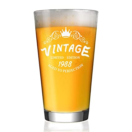 1988 30th Birthday Gifts For Men And Women 16 Oz Beer Glass