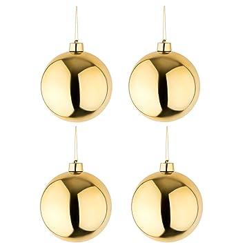 Christbaumkugeln Hochwertig.4 Grosse Weihnachtskugeln Christbaumkugeln Goldglanzend 25 Cm