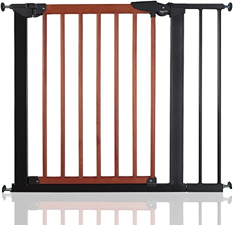 77.5cm-84.4cm BabyDan Avantgarde Baby Safety Stair Gate Cherry Wood and Black All Widths