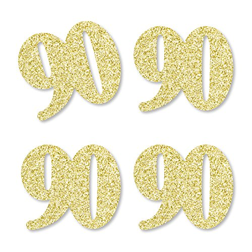 Gold Glitter 90 - No-Mess Real Gold Glitter Cut-Out Numbers - 90th Birthday Party Confetti - Set of 24 ()