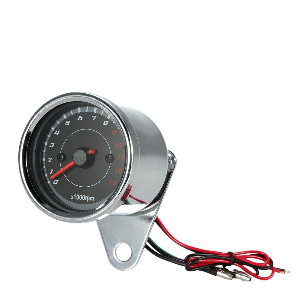KKmoon 12V Universale Moto Misuratore del Tachimetro LED Controluce 13K RPM Spostamento