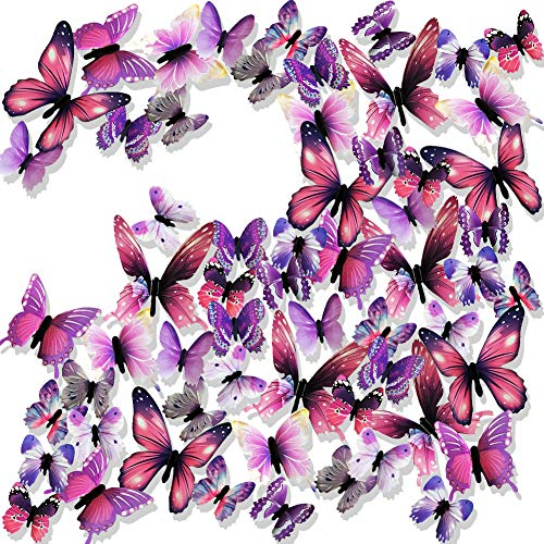 Ewong 3D Butterfly Wall Stickers Arts Decor Crafts for Kids Girls, 60PCS Home Decorations for Living Room Baby Bedroom Bathroom Nursery Classroom Office Decals - ()