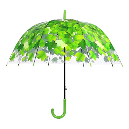 Paraguas plegable Paraguas transparente Paraguas femenino Paraguas recto Pequeño paraguas largo y fresco Simple Día soleado