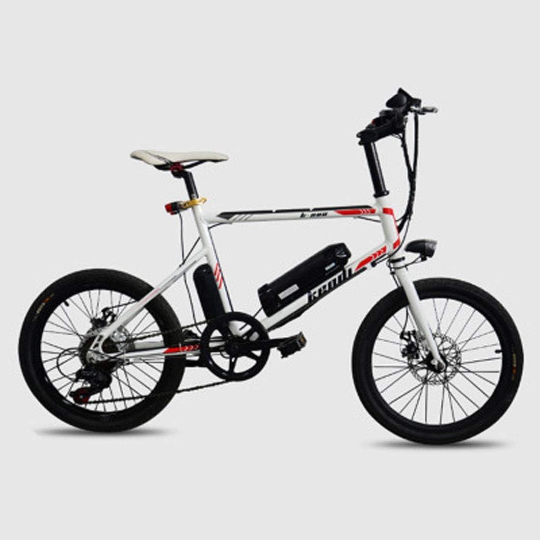 Jun Bicicleta De Ciudad Eléctrica Plegable De Aleación Ligera De 20 Pulgadas, (Batería Desmontable De 36V-250W) Bicicleta De Ciudad para Adultos De Diámetro De Rueda Pequeña,Blanco: Amazon.es: Hogar