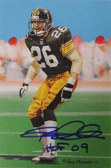 480c29969 Rod Woodson Autographed Steelers Goal Line Art Card W/HOF- W Auth *Blue