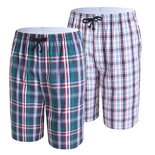 Men's Sleep Shorts,Cotton Plaid Lounge Pajama Shorts & Lounge Wear 2-Pack Green+Red S ()