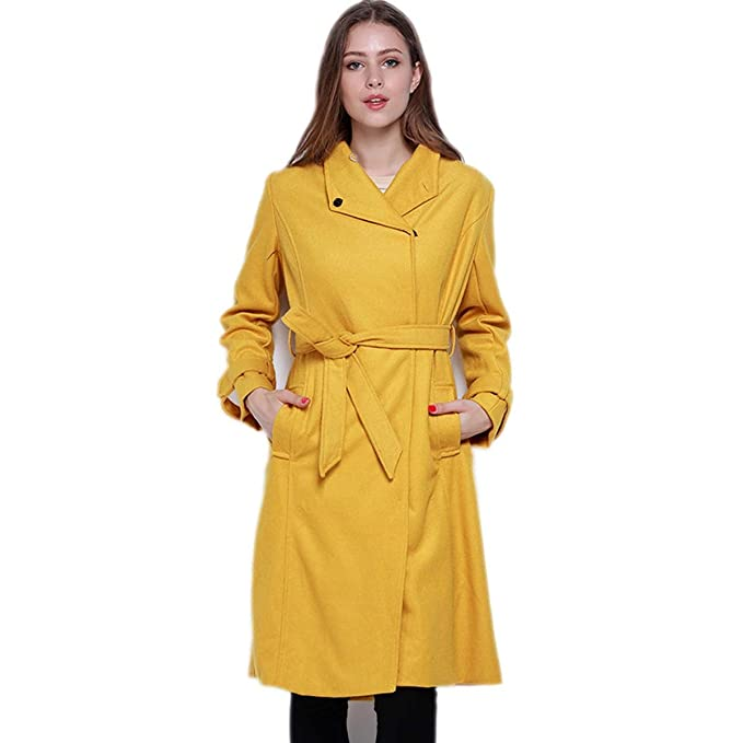 1e1bb88b1835c Women Slim Yellow Trench Streetwear Classical Coat Elegant Lapel ...