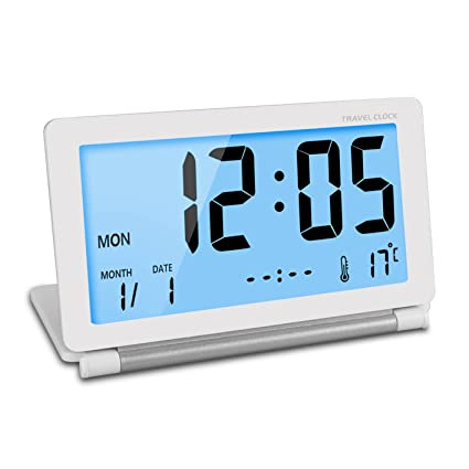 Viaje reloj ceebon plegable Mini Silent digital reloj despertador con luz nocturna inteligente temperatura calendario pantalla