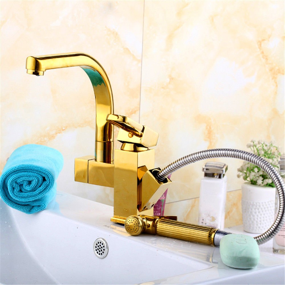 Lpophy Bathroom Sink Mixer Taps Faucet Bath Waterfall Cold and Hot Water Tap for Washroom Bathroom and Kitchen Hot and Cold Copper Pull gold
